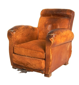 Leather French Club Chair