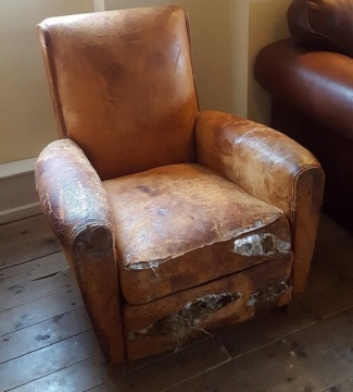 High Back French Leather Club Chair