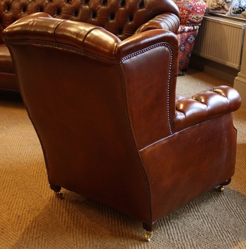 Late Victorian Buttoned Low Wing Armchair