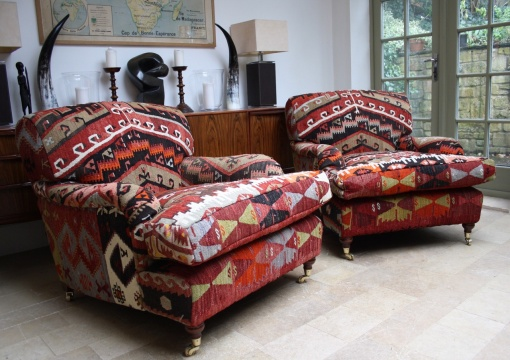 Pair of Lansdown Chairs upholstered in Turkish Kilim