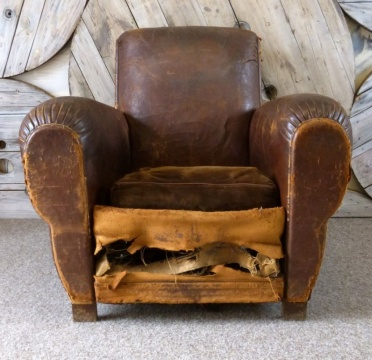Antique French Leather Cigar Chair