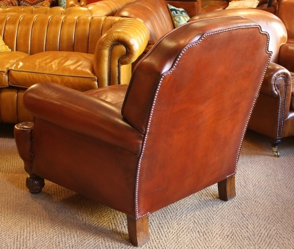 Large Edwardian Leather Club Chair