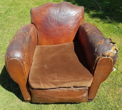 French Moustache Leather Chair
