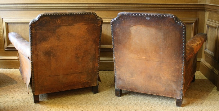 Brass nailed 20th Century Leather Pair of Club Chairs
