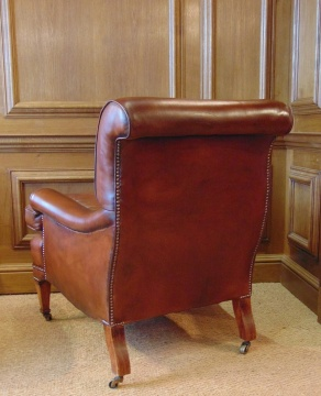 Antique Leather Library Chair with Cherrywood Legs & Boxwood Inlay