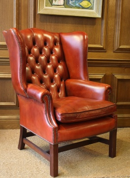Leather Georgian Wing Settee