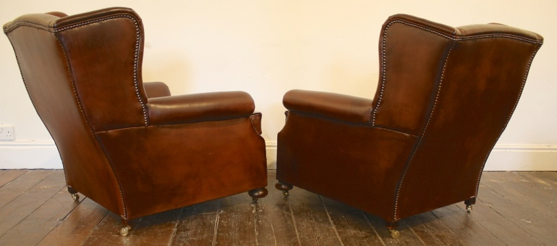 Wing Back Leather Club Chairs