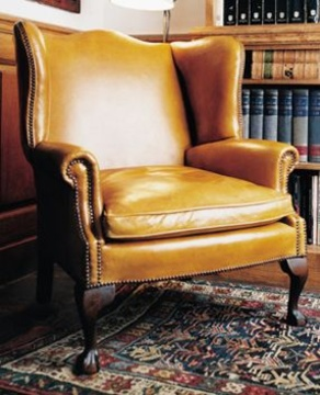 The Wide Georgian Leather Wing Chair in Leather with Claw & Ball Feet