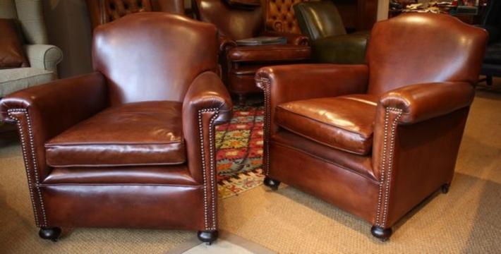 English 1930u0027s Leather Pair Of Chairs ...