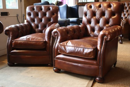 Fully Buttoned Victorian Leather Pair