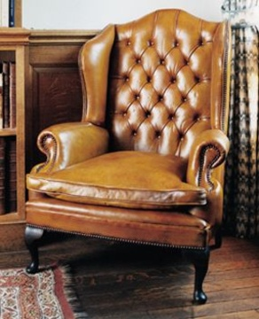 The Wide Queen Anne Wing Chair In Leather  Queen Anne Armchair7
