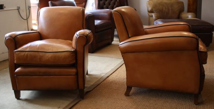 Bon French Leather Club Chairs ...