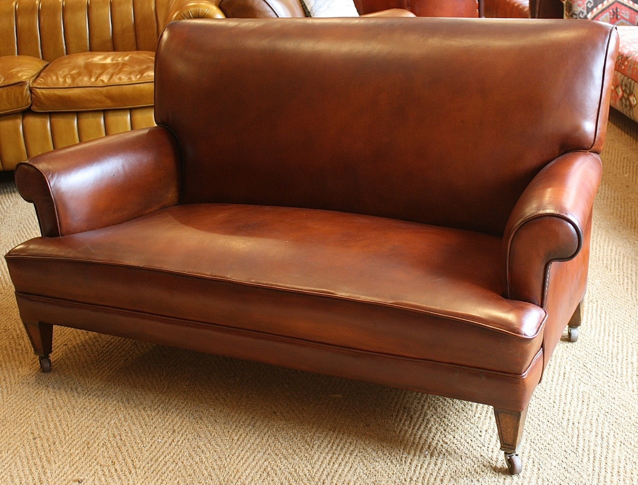 1920s 1930s Sofa, Oak Legs, Leather Chairs of Bath Leather ...