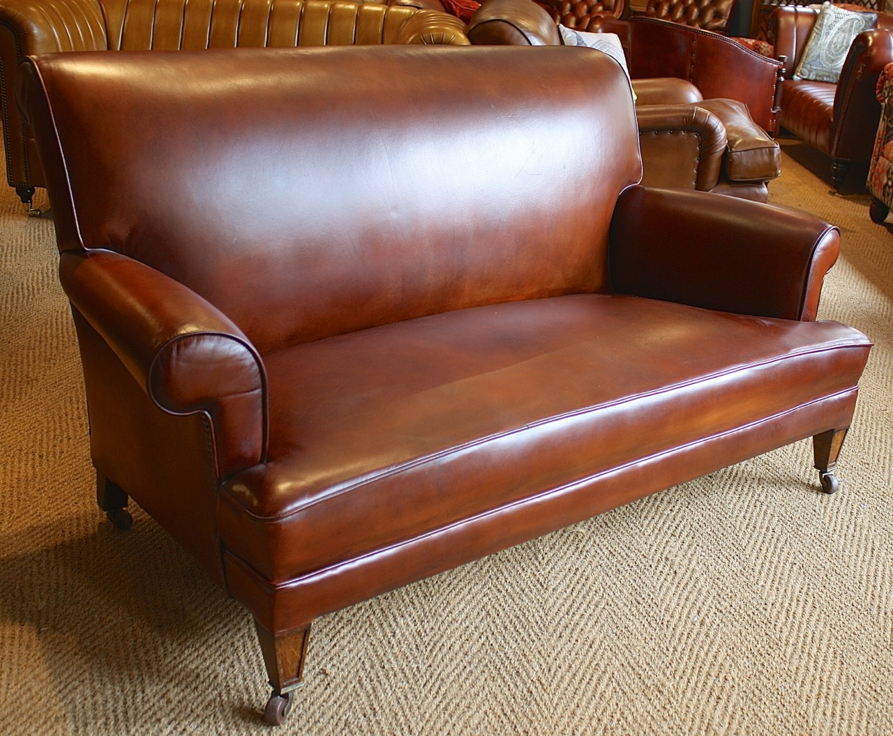 1920s 1930s Sofa Oak Legs Leather Chairs Of Bath Leather