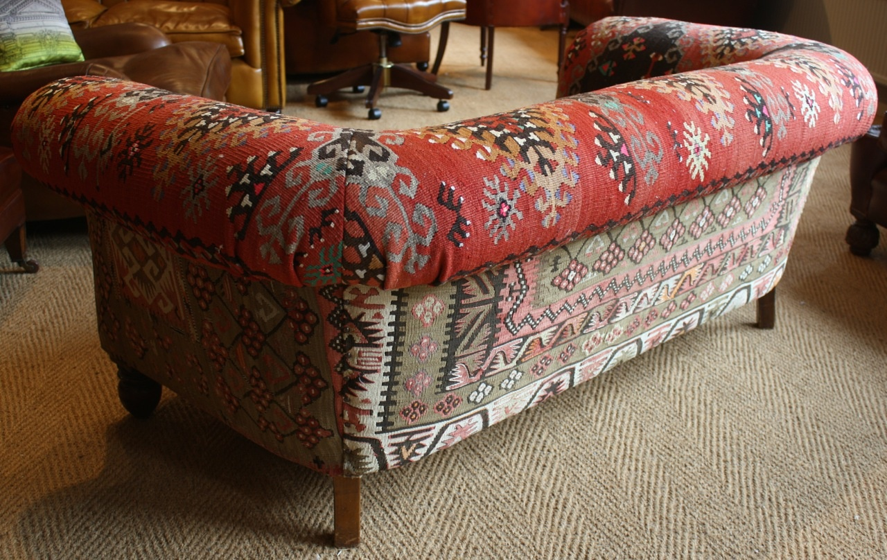 Seater queen anne high back wing sofa uk manufactured antique green -  Kilim Antique 2 Seater Chesterfield