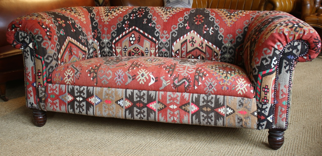 Leather Chairs Of Bath Kilim Antique 2 Seater Chesterfield