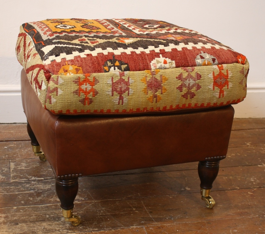 Kilim and Leather Stool