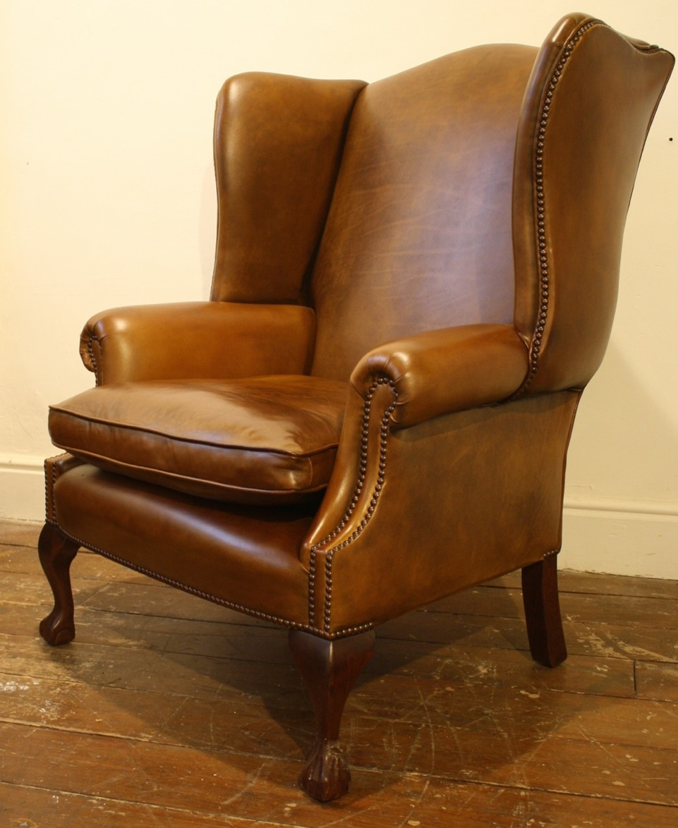 ... Wide Georgian Leather Wing Chair With Claw U0026 Ball Legs