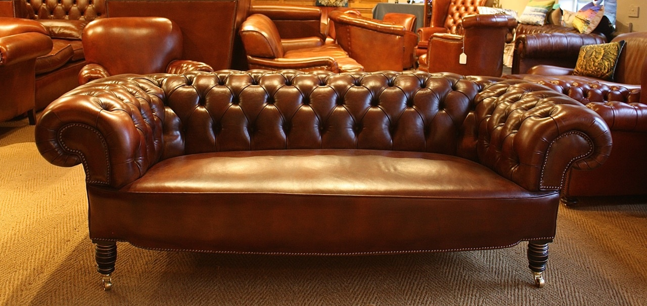 Stuffover Seat Buttoned Back Antique Leather Chesterfield ... - Stuffover Seat Buttoned Back Antique Leather Chesterfield, Antique