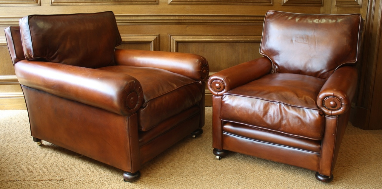 Pair of Antique Leather Club Chairs ... - Leather Chairs Of Bath Chelsea Design Quarter Antique Leather Club