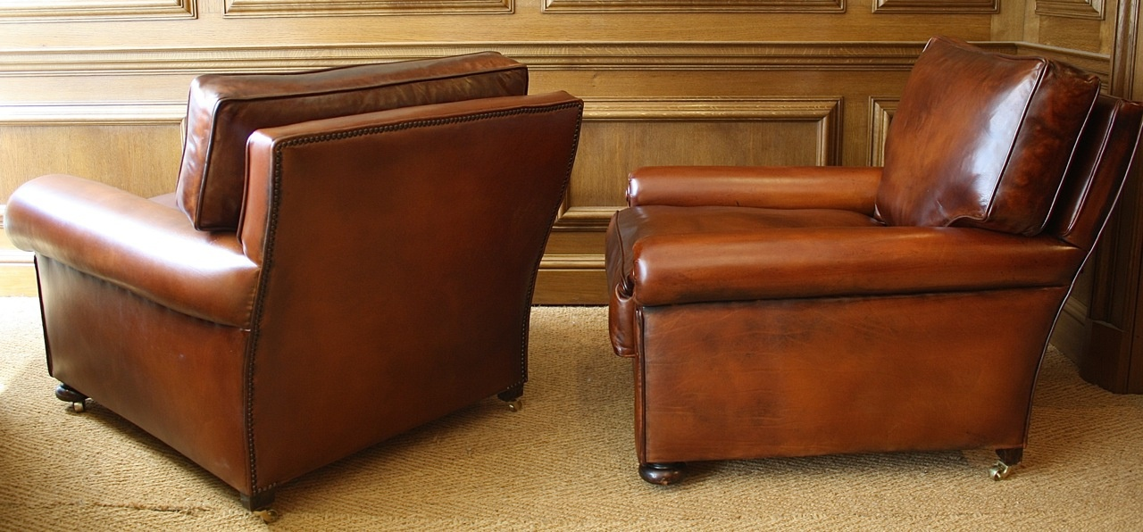 ... Pair Of Antique Leather Club Chairs