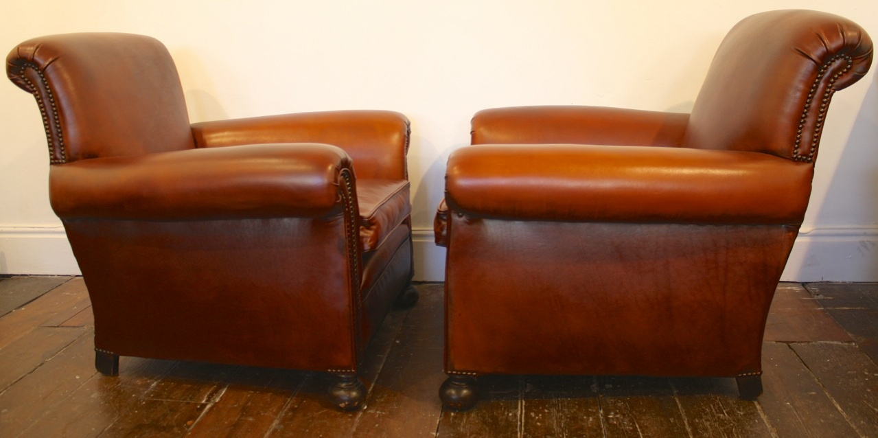Incroyable ... Club Chair Antique Leather Pair ...