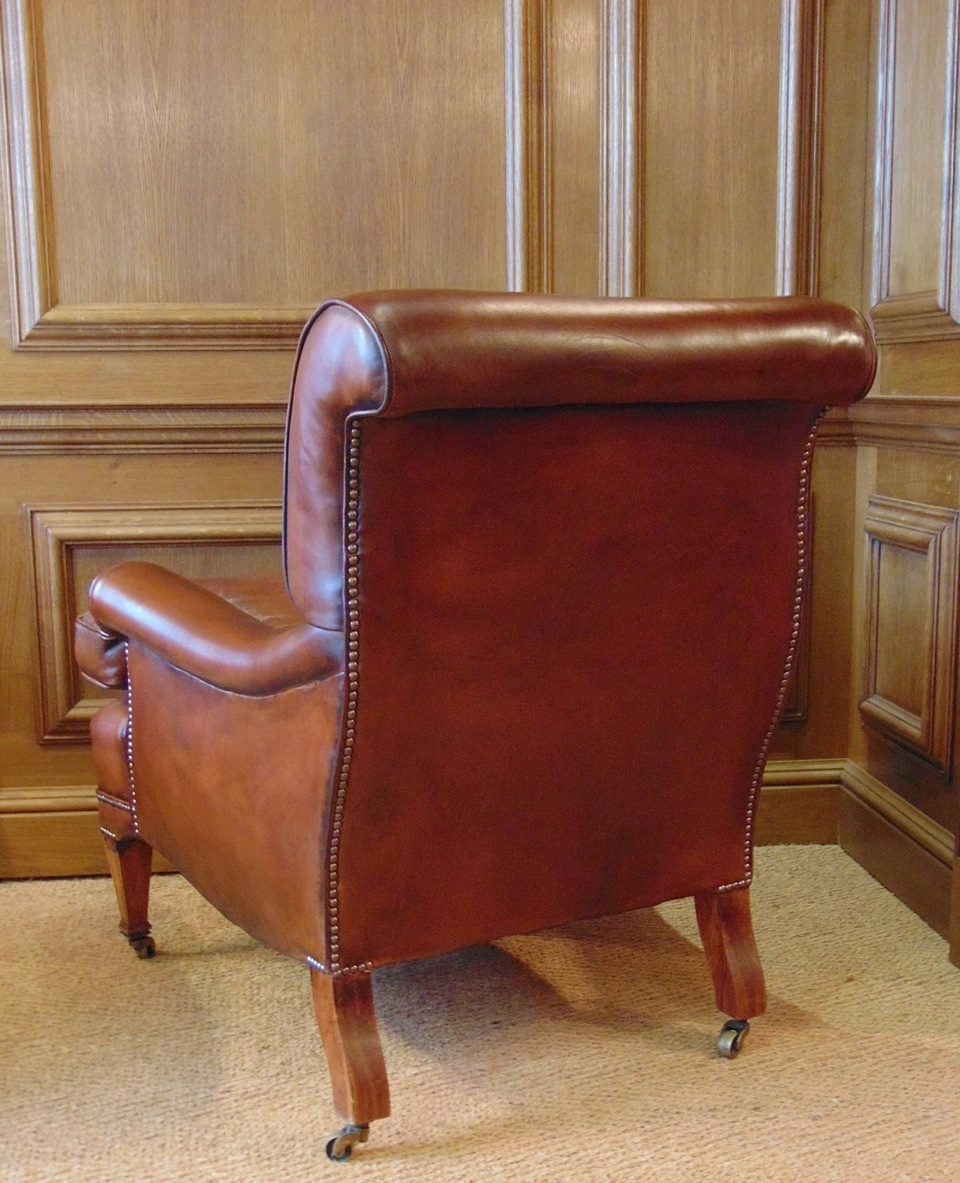 Antique Leather Library Chair with Cherrywood Legs & Boxwood Inlay ... - Leather Chairs Of Bath Chelsea Design Quarter London Leather Chairs