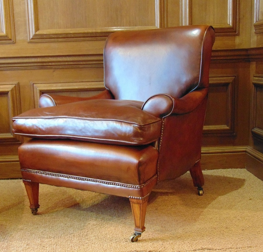 Antique Leather Library Chair with Cherrywood Legs u0026 Boxwood Inlay ... & Leather Chairs of Bath Chelsea Design Quarter London Leather Chairs ...