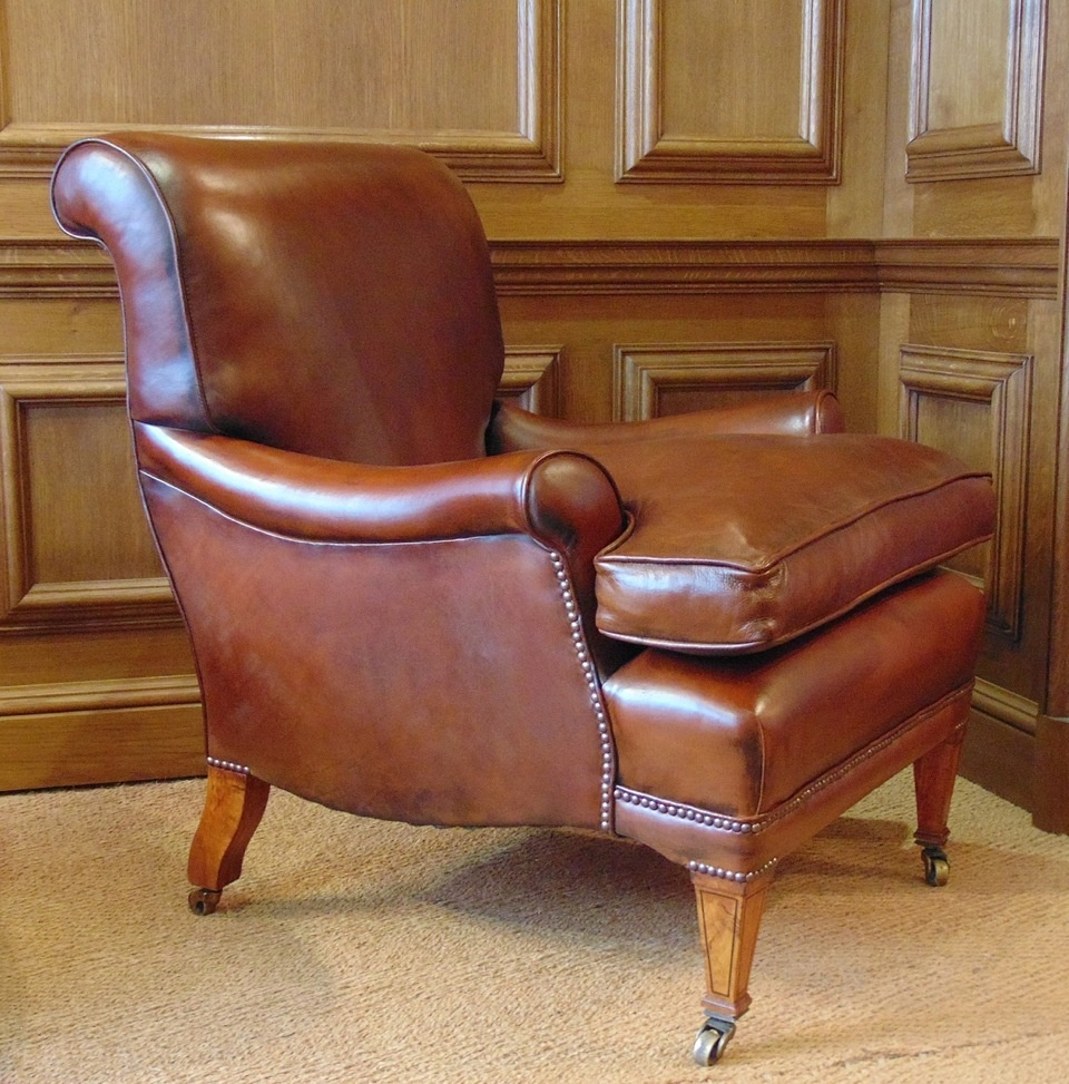 ... Antique Leather Library Chair with Cherrywood Legs & Boxwood Inlay - Leather Chairs Of Bath Chelsea Design Quarter London Leather
