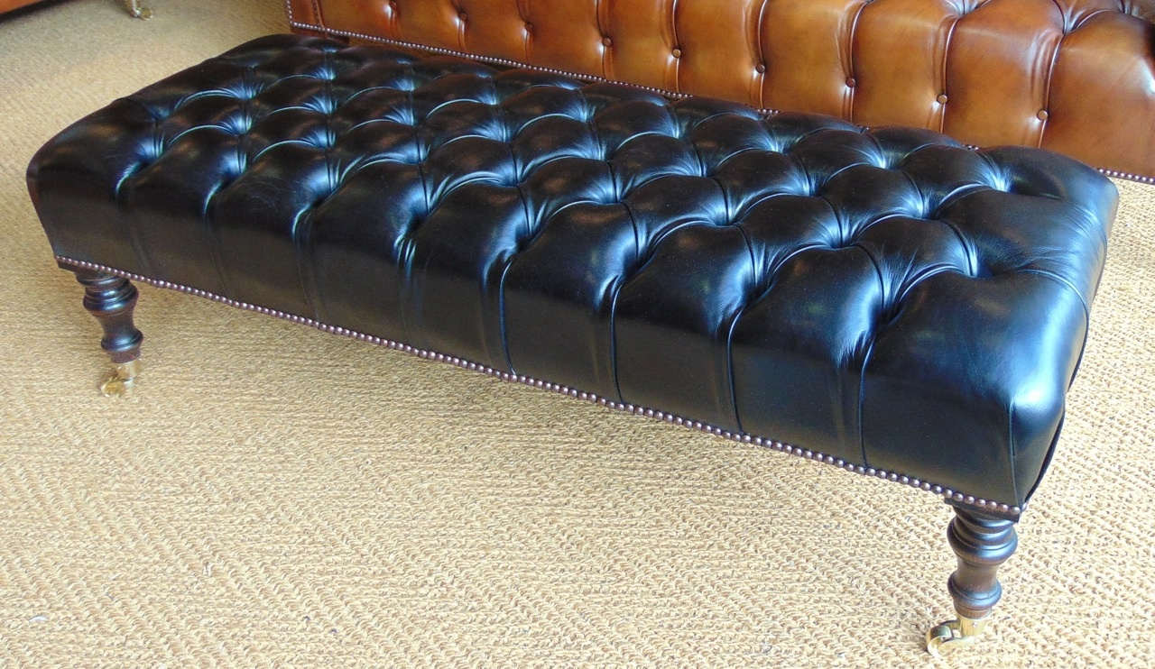 Leather Chairs Of Bath Bespoke Black Leather Footstool