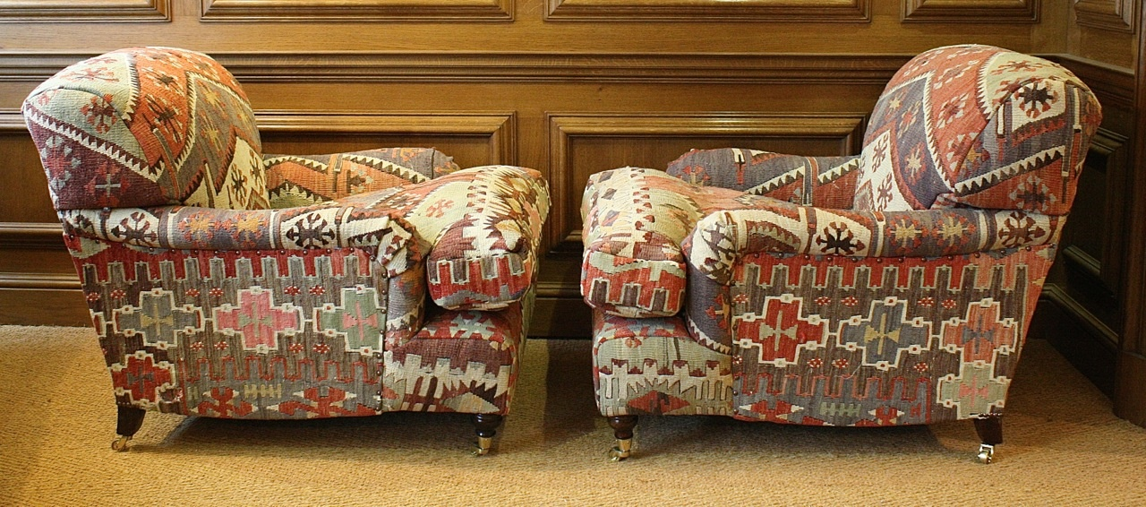 Turkish Kilim Pair Of Lansdown Chairs Kilim Upholstery