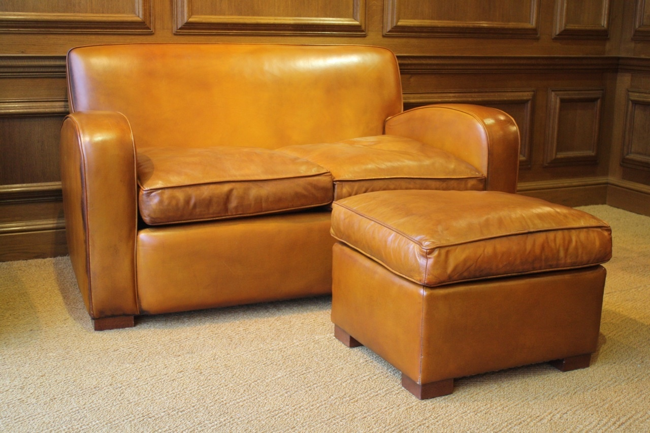 Two Seater Leather Odeon Sofa Leather Club Sofa Leather
