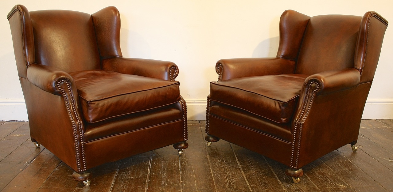 ... Wing Back Leather Club Chairs ...