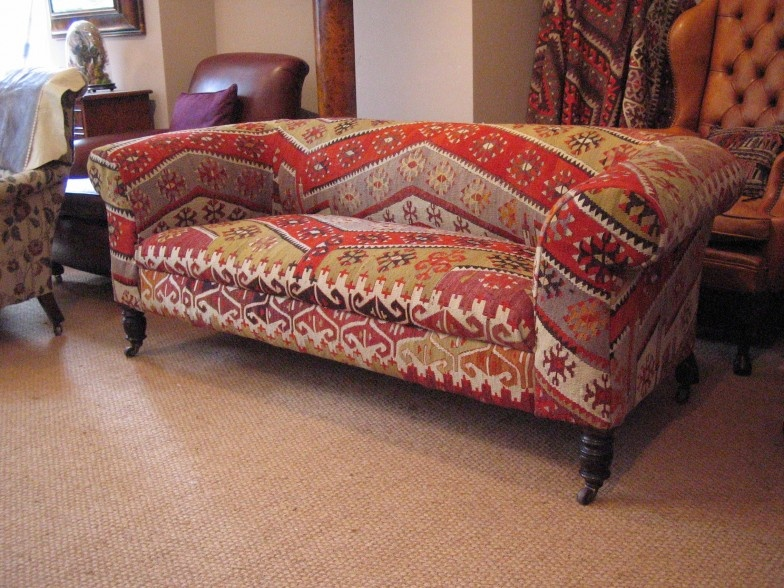 19th Century Chesterfield Upholstered In Kilim Leather
