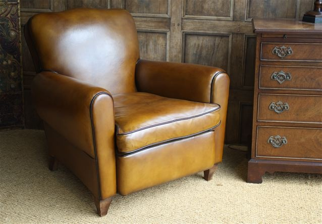 Fully Restored French Leather Club Chair.