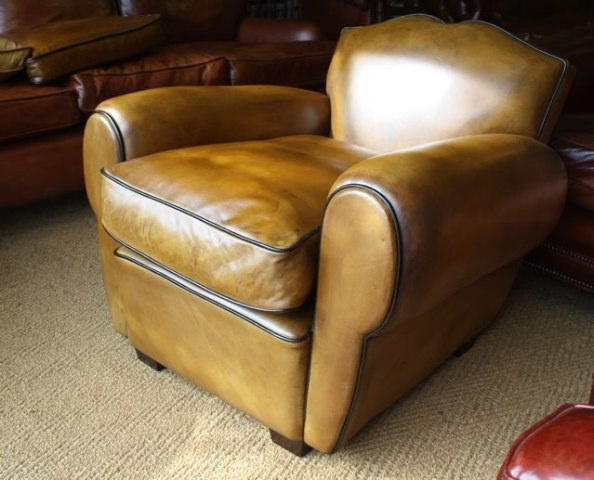 Leather French Cigar Arm Moustache Chair Leather Club