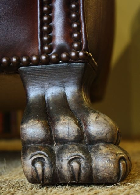 ... Antique Leather Lion Paw Pair ... - Antique Leather Lion Paw Pair Of Chairs, Antique Leather Club Chairs