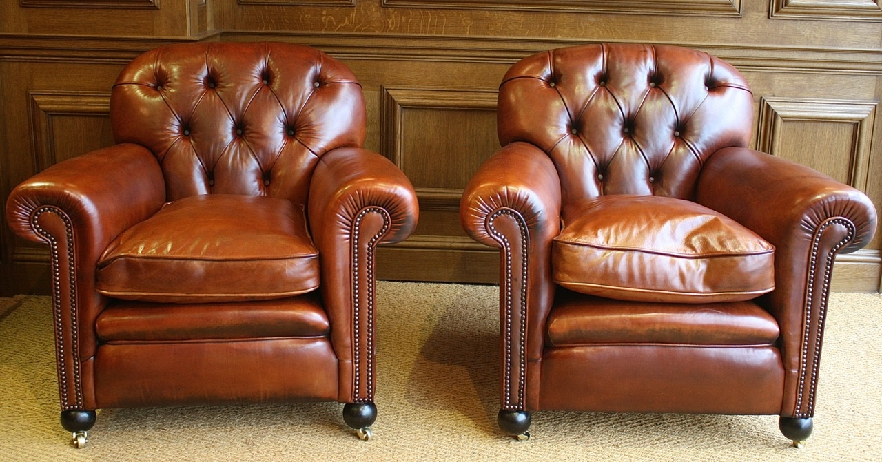Buttoned Back Antique Pair of Leather Club Chairs - Leather Chairs Of Bath  - Antique Club - Antique Club Chairs Antique Furniture
