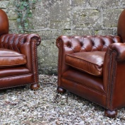Buttoned Arm Antique Leather Club Chair Pair