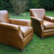 Stunning Pair of Leather Club Chairs