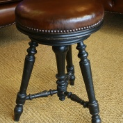 Antique Leather Piano Stool