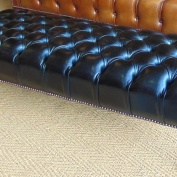 Bespoke Black Leather Footstool