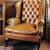 The Wide Queen Anne Wing Chair in Leather