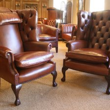 Bespoke Pair of Georgian Leather Wing Chairs