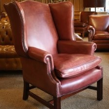 Faded Rose Georgian Leather Wing Chair