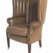 Olive Green Fluted Leather Library Chair