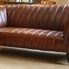 Fluted Leather Chesterfield