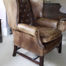 Vintage Leather Georgian Wing Chair