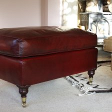 Red/Oxblood Leather Lansdown Stool