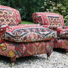 Pair of Turkish Kilim Upholstered Lansdown Chairs